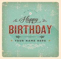 Cartão do feliz aniversario do vintage vetor