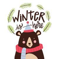 Fofo Urso Com Roupas De Inverno vetor