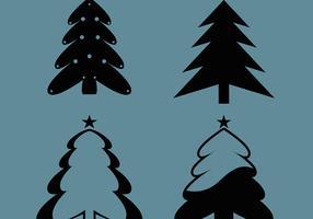 Silhouttes de árvore de Natal vetor