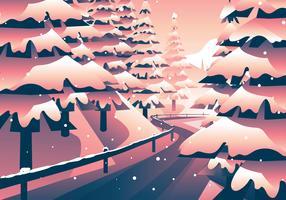 Caminho na floresta de inverno vetor