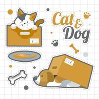 Gato e cão conjunto de adesivos vetor