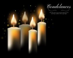 Condolências leves com vela no escuro vetor