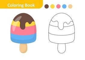 livro de colorir para crianças, vetor de sorvete
