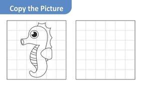 copie a planilha de imagens para crianças, vetor de cavalos-marinhos
