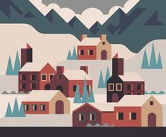 Ilustração de aldeia de inverno vetor