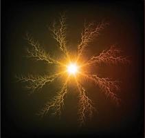 parafuso de descarga elétrica poderosa atingindo vetor