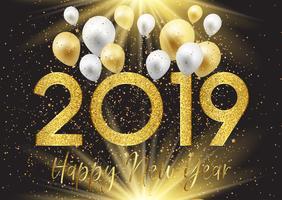 Feliz ano novo fundo com balões e glitter vetor