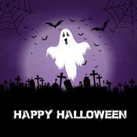 Fundo de dia das bruxas com fantasma e cemitério vetor