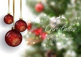 Fundo de quinquilharia de Natal com fundo defocussed vetor