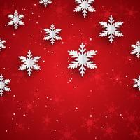 Fundo de Natal com flocos de neve de papel estilo 3D