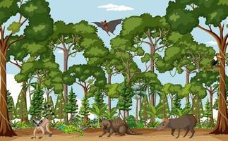 cena da floresta tropical com vários animais selvagens vetor
