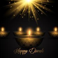 Fundo de Diwali com lâmpadas de óleo no fundo starburst