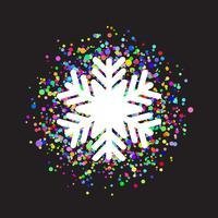 Floco de neve no fundo colorido confete