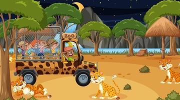 safári noturno cena com crianças assistindo grupo de leopardo vetor