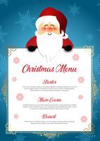Menu de Natal com Papai Noel fofo vetor