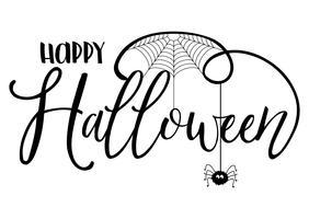 Fundo de texto de Halloween com aranha e teia de aranha vetor