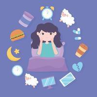 insônia, menina e razões da doença refeição pesada remédio cafeína estresse e maus hábitos de sono vetor