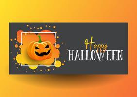 Design de banner de Halloween com abóbora fofa