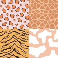 texturas de pele de animal, conjunto de padrões de couro sem costura vetor