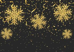 Confetes de flocos de neve estilo glitter e flâmulas vetor