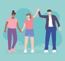 pessoas juntas, jovem com mulheres de mãos dadas, personagens de desenhos animados masculinos e femininos vetor