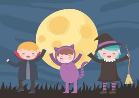 feliz dia das bruxas, personagens fantasiados, gato, bruxa e drácula, crianças, doce ou travessura, celebração de festa vetor