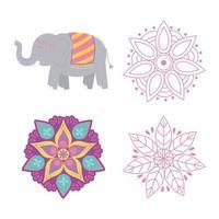 feliz festival de diwali, flores de mandala floral e design de vetor de ícones de elefante