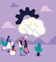 empresárias com engrenagens, pessoas e ideias vetor