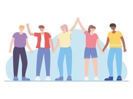 pessoas juntas, retrato de grupo de pessoas sorridentes, personagens de desenhos animados masculinos e femininos vetor