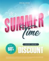 Banner de venda de férias de horário de verão vetor