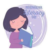 dia internacional da alfabetização, livro de leitura da garota do conhecimento nas mãos vetor