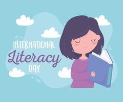 dia internacional da alfabetização, menina feliz lendo livros didáticos vetor