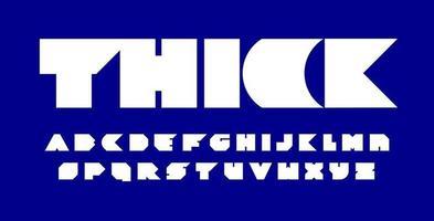 fonte espessa com bordas nítidas e espaço em branco zero. alfabeto angular ultra bold (realce). letras pesadas geométricas para título e logotipo de alto impacto. tipografia em blocos, cenografia tipográfica vetorial vetor