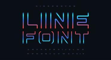 conjunto de letras e números de ponta, fonte futurista, alfabeto de cores cyberpunk para título de cinema e jogo, pôster de música e logotipo, capa de livro de ficção científica, texto em neon futuro, gradiente de brilho moderno tipográfico vetor