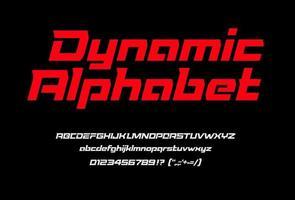 fonte dinâmica esporte vermelha com números e pontuação, letras maiúsculas e minúsculas. alfabeto geométrico em itálico, fonte ampla com recortes e serifas especiais. tipografia vetorial moderna em fundo preto vetor