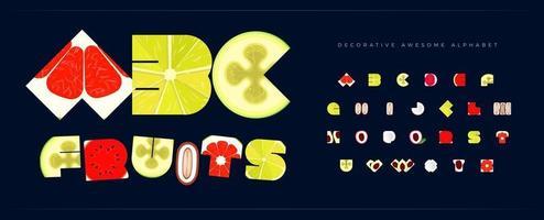 fonte de frutas frescas para o logotipo tropical frutado. alfabeto para restaurante e café, conjunto de letras de menu. comida saudável tipografia decorativa e vitamina de suco. design tipográfico de verão. vetor