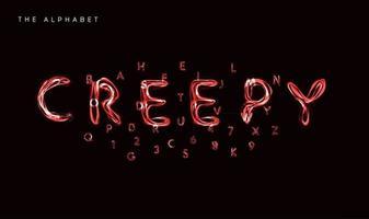 alfabeto de estilo assustador, fonte de poção de bruxa, tipo de relâmpago para pôster de halloween, banner, logotipo e letras verdes. letras de estilo mágico e assustador, design de tipografia vetorial vetor