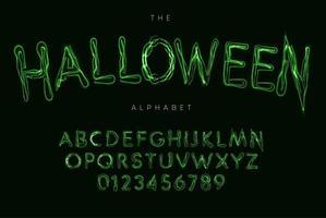 alfabeto de estilo de halloween, fonte de poção de bruxa, tipo de relâmpago para pôster de halloween, banner, logotipo e letras verdes. letras de estilo mágico e assustador, design de tipografia vetorial vetor