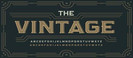 letras de estilo vitoriano vintage, fonte com serifa clássica. alfabeto decorativo elegante para logotipo rústico, letras do velho oeste, cartaz e manchete, emblema de uísque e embalagem. design tipográfico do vetor. vetor