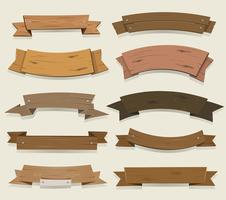 Fitas de madeira dos desenhos animados e Banners vetor