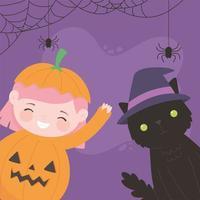 feliz dia das bruxas, menina abóbora com fantasia de gato doçura ou travessura, celebração de festa vetor