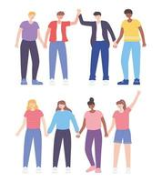 pessoas juntas, homens e mulheres de mãos dadas, personagens masculinos e femininos dos desenhos animados vetor
