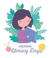 dia internacional da alfabetização, livro de leitura de linda garota, natureza de folhagem de folhas vetor