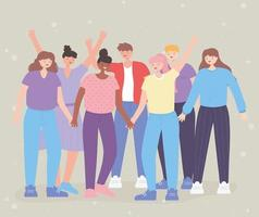 pessoas juntas, diversidade de pessoas, grupo de amizade, personagens de desenhos animados masculinos e femininos vetor