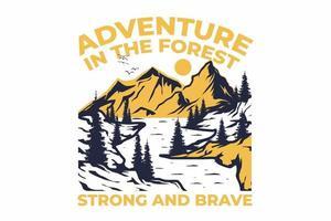 t-shirt retro aventura na floresta forte e corajoso estilo vintage desenhado à mão vetor
