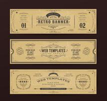 Modelos de banners de site vintage vetor