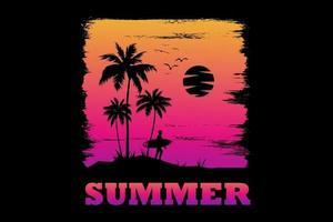 t-shirt verão surf pôr do sol lindo céu retro estilo vintage vetor