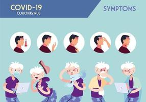 infográfico mostrando incubação e sintomas com ícones e pessoa infectada vetor
