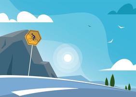 carro na rodovia com paisagem e azul celeste vetor