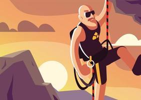 homem escalando a montanha vetor